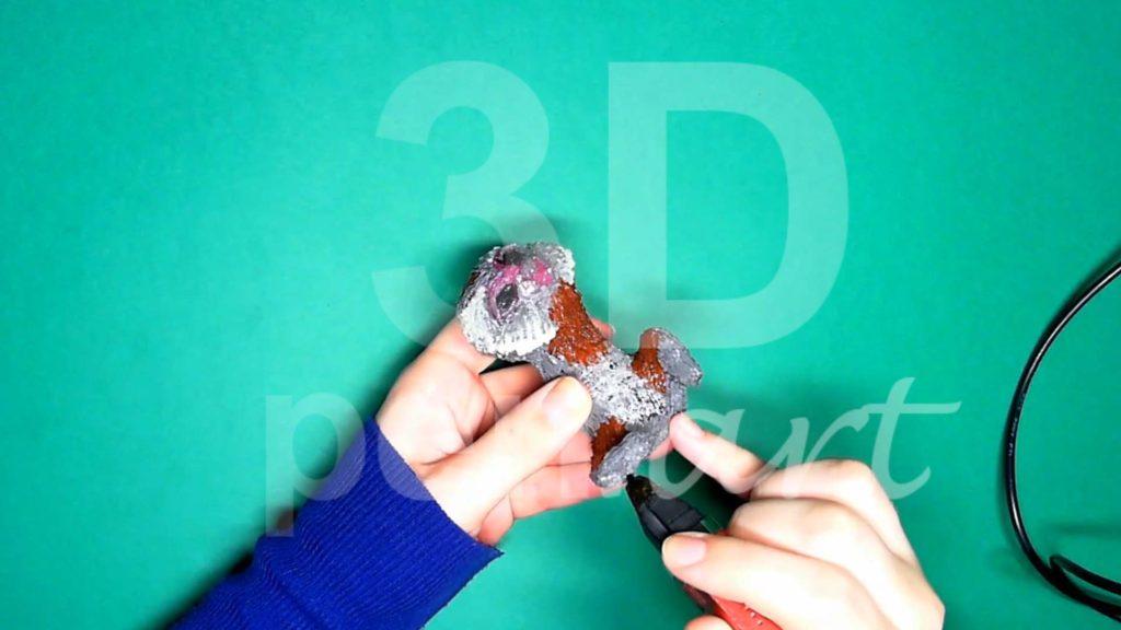 Обезьяна 3D ручкой. Штриховка серым