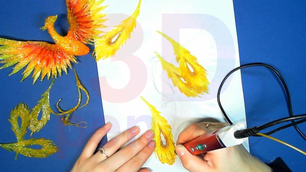 Феникс 3D ручкой. Детализация перьев