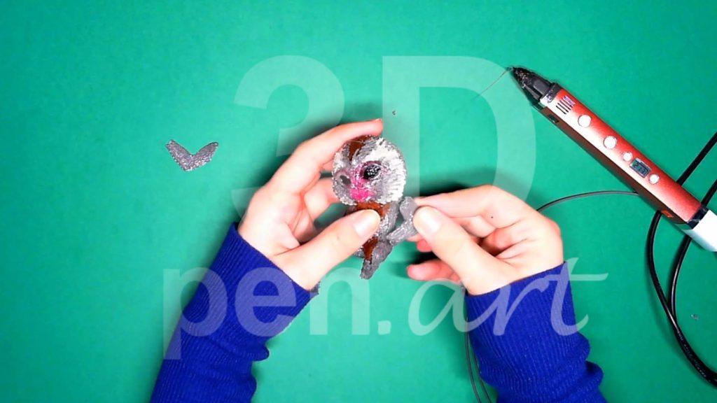 Обезьяна 3D ручкой. Верхние лапы. Шаг 2