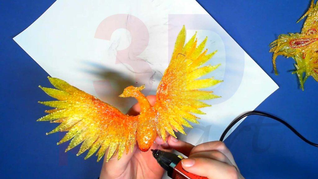 Феникс 3D ручкой. Оперение тела красным цветом
