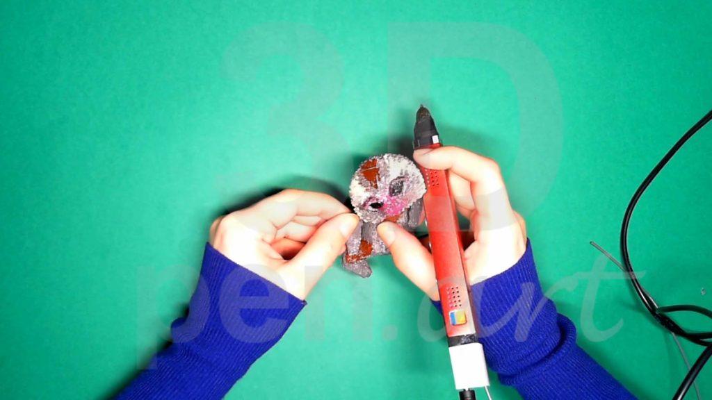 Обезьяна 3D ручкой. Верхние лапы. Шаг 3