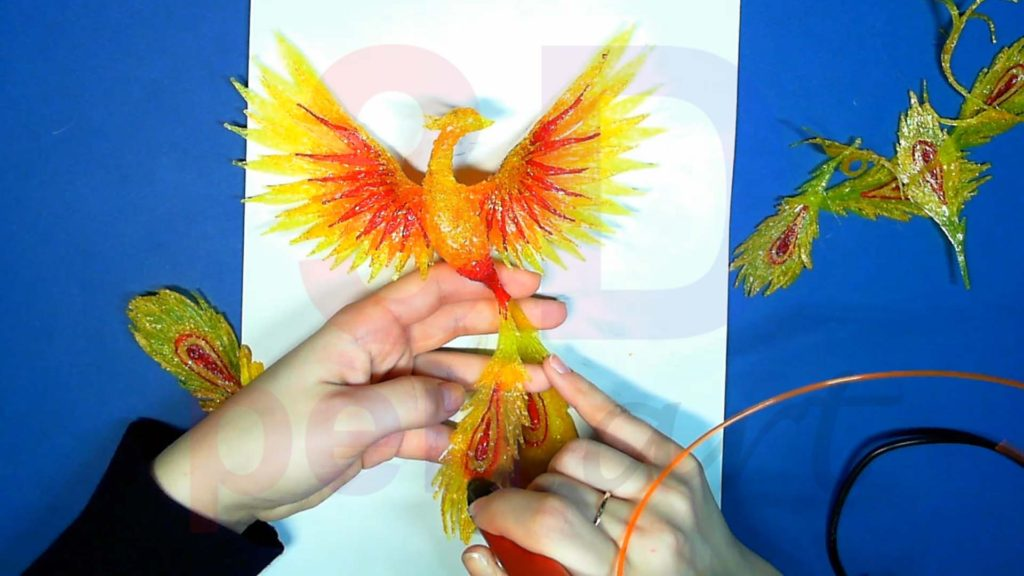 Феникс 3D ручкой. Присоединяем перья хвоста