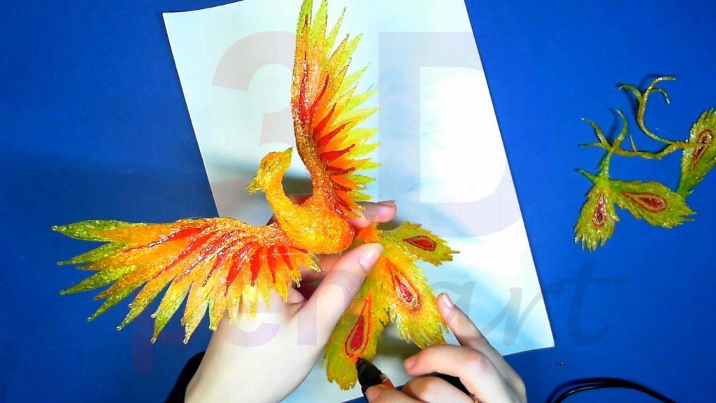 Феникс 3D ручкой. Меняем форму перьев