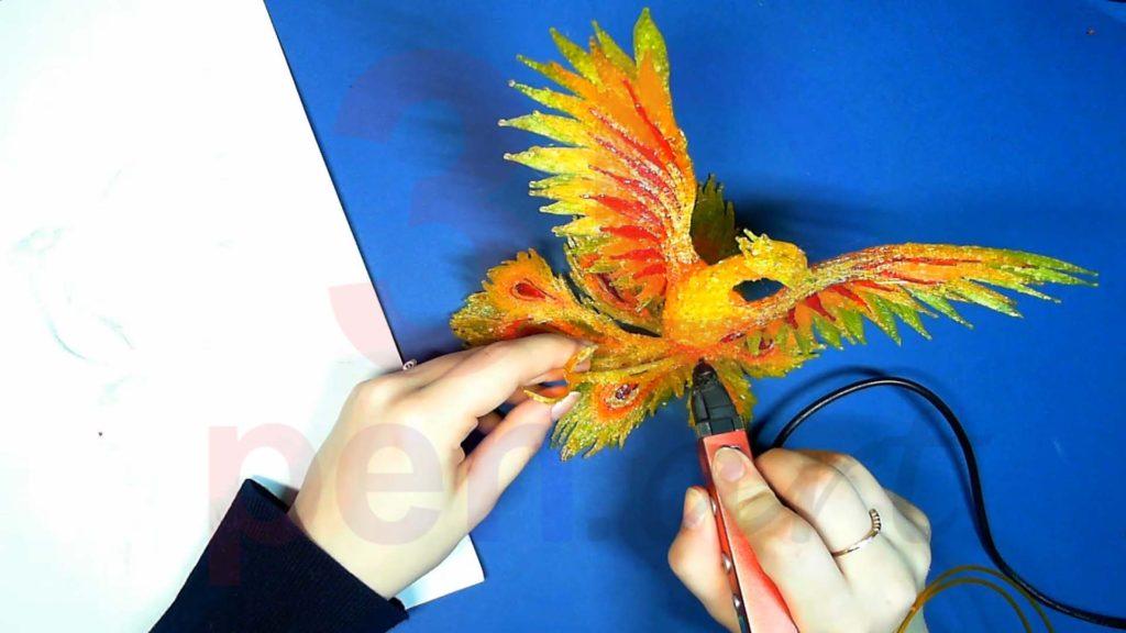 Феникс 3D ручкой. Крепим украшения для хвоста