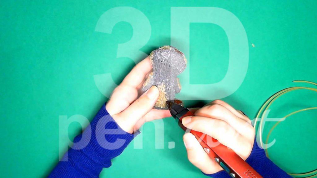 Обезьяна 3D ручкой. Детализация бежевым