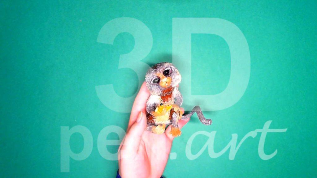 Обезьяна 3D ручкой. Готовая поделка