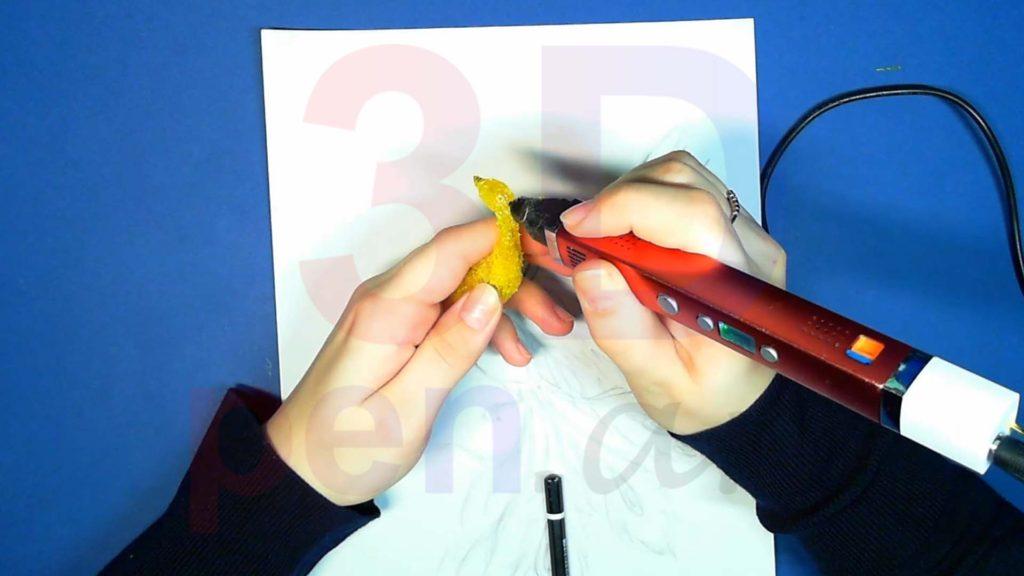 Феникс 3D ручкой. Черновая штриховка