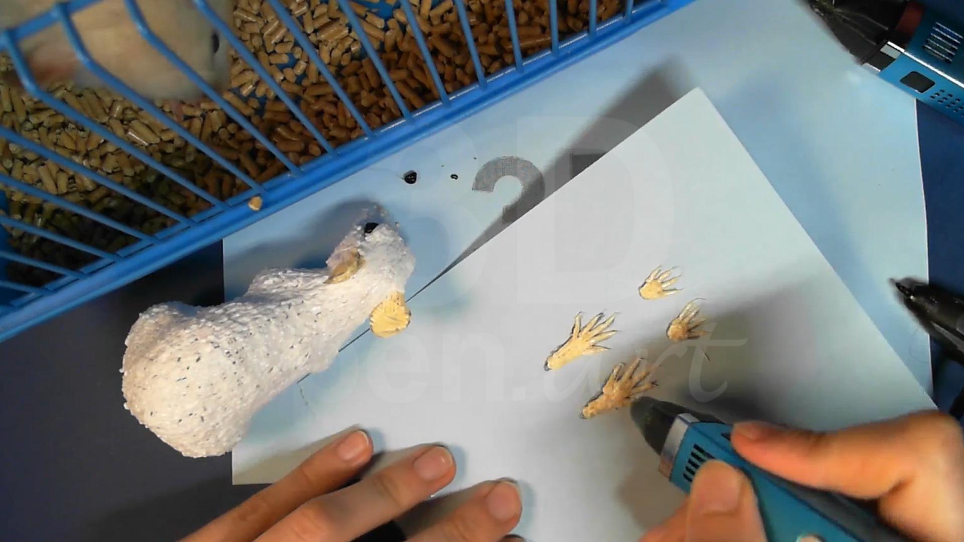 Крыса 3D ручкой. Заготовки для лап