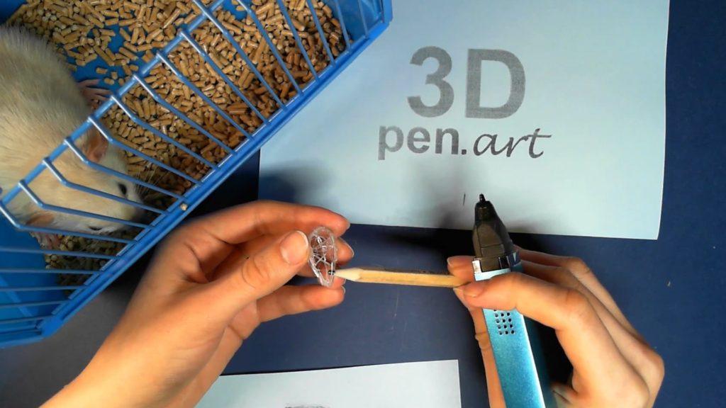 Крыса 3D ручкой. Каркас головы
