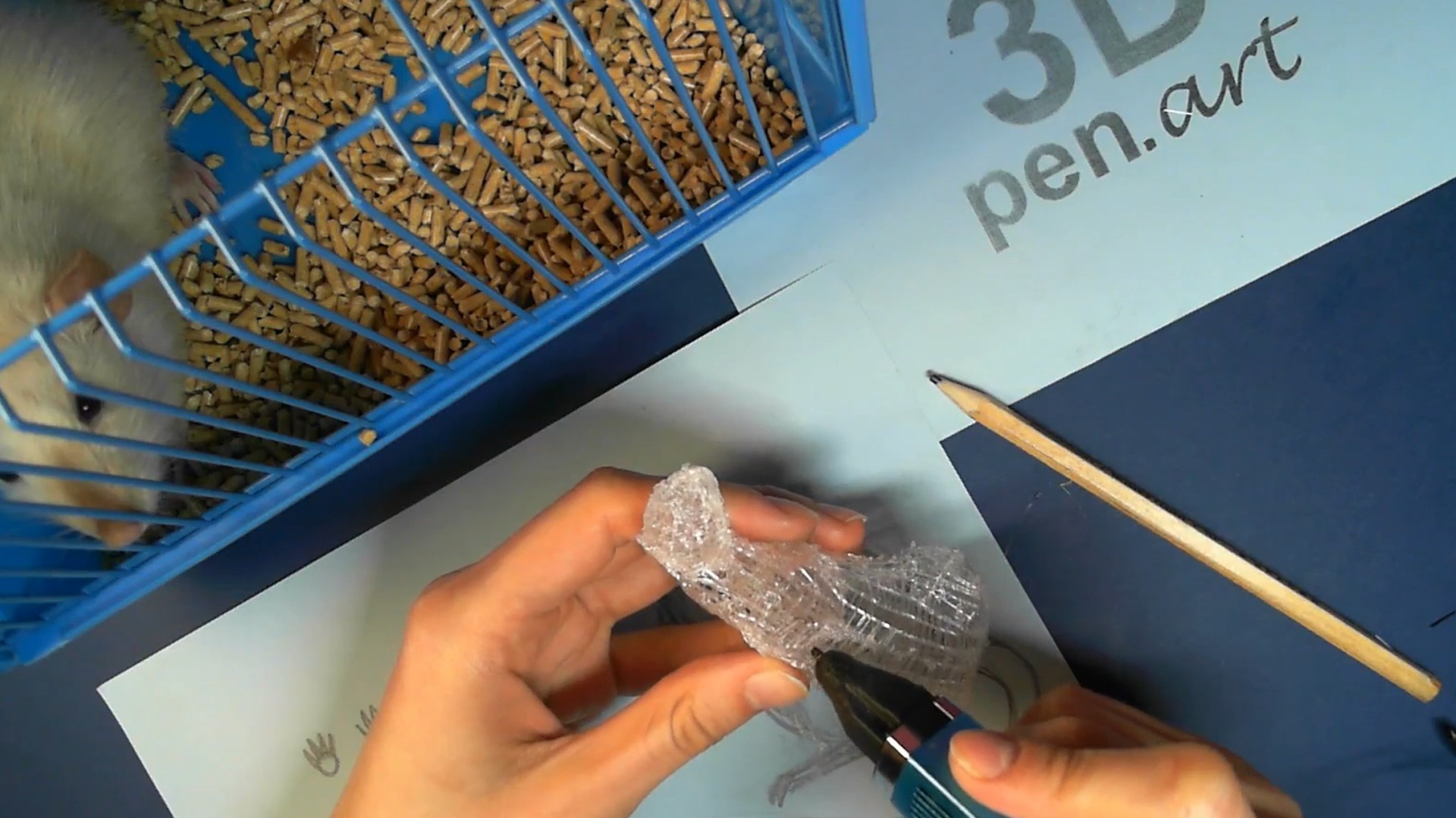 Крыса 3D ручкой. Наносим слой черновой штриховки