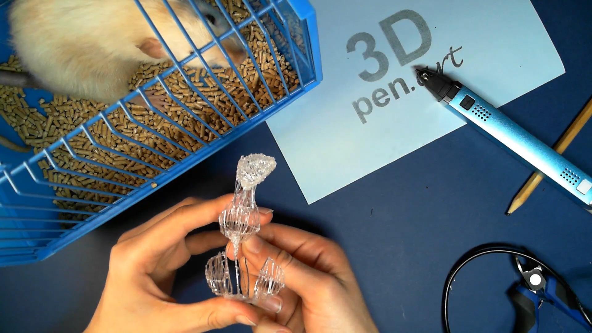 Крыса 3D ручкой. Прикрепляем основания к поделке