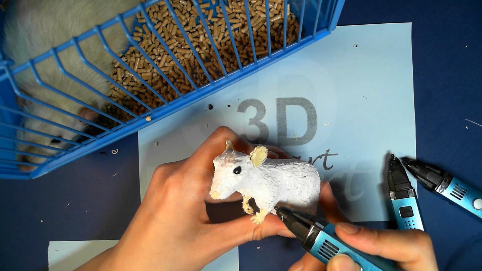 Крыса 3D ручкой. Прикрепляем передние лапки