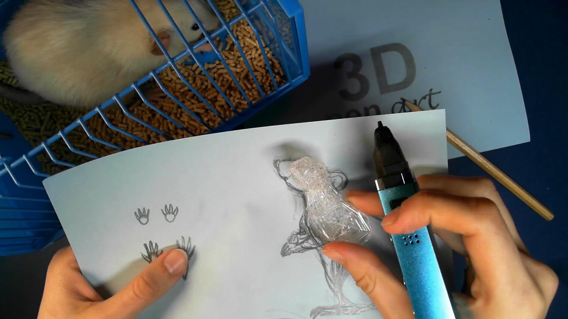 Крыса 3D ручкой. Соединяем голову и грудную клетку