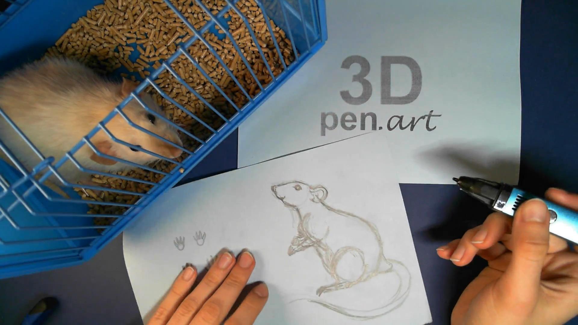 Крыса 3D ручкой. Эскиз поделки