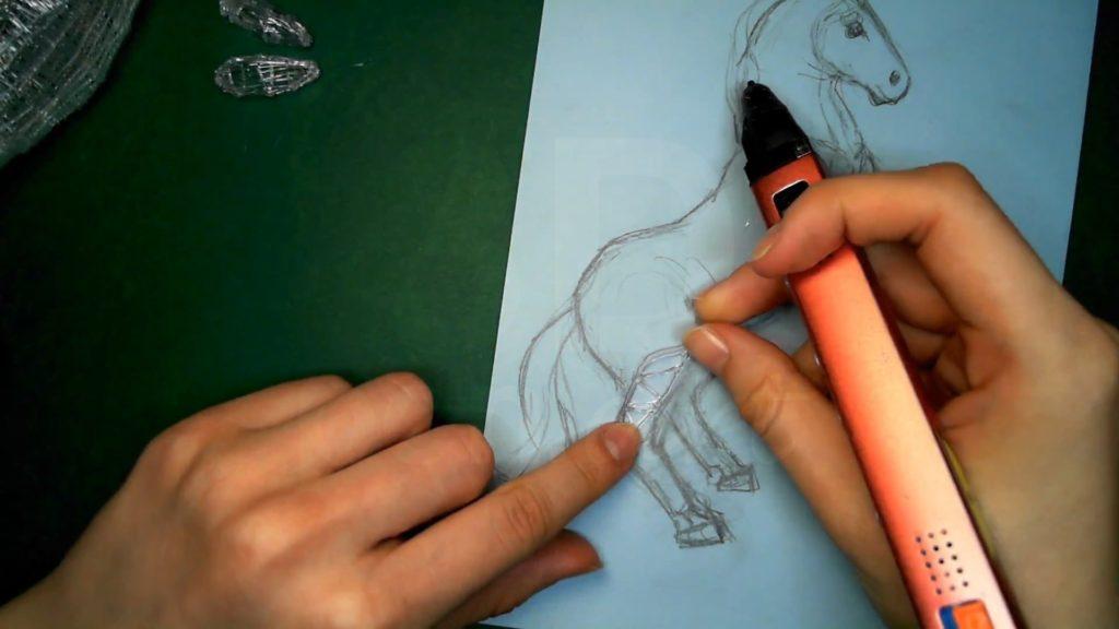 Лошадка 3D ручкой. Каркасы задних ног. Первая деталь