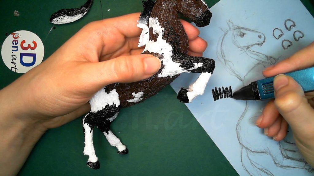 Лошадка 3D ручкой. Создаём гриву
