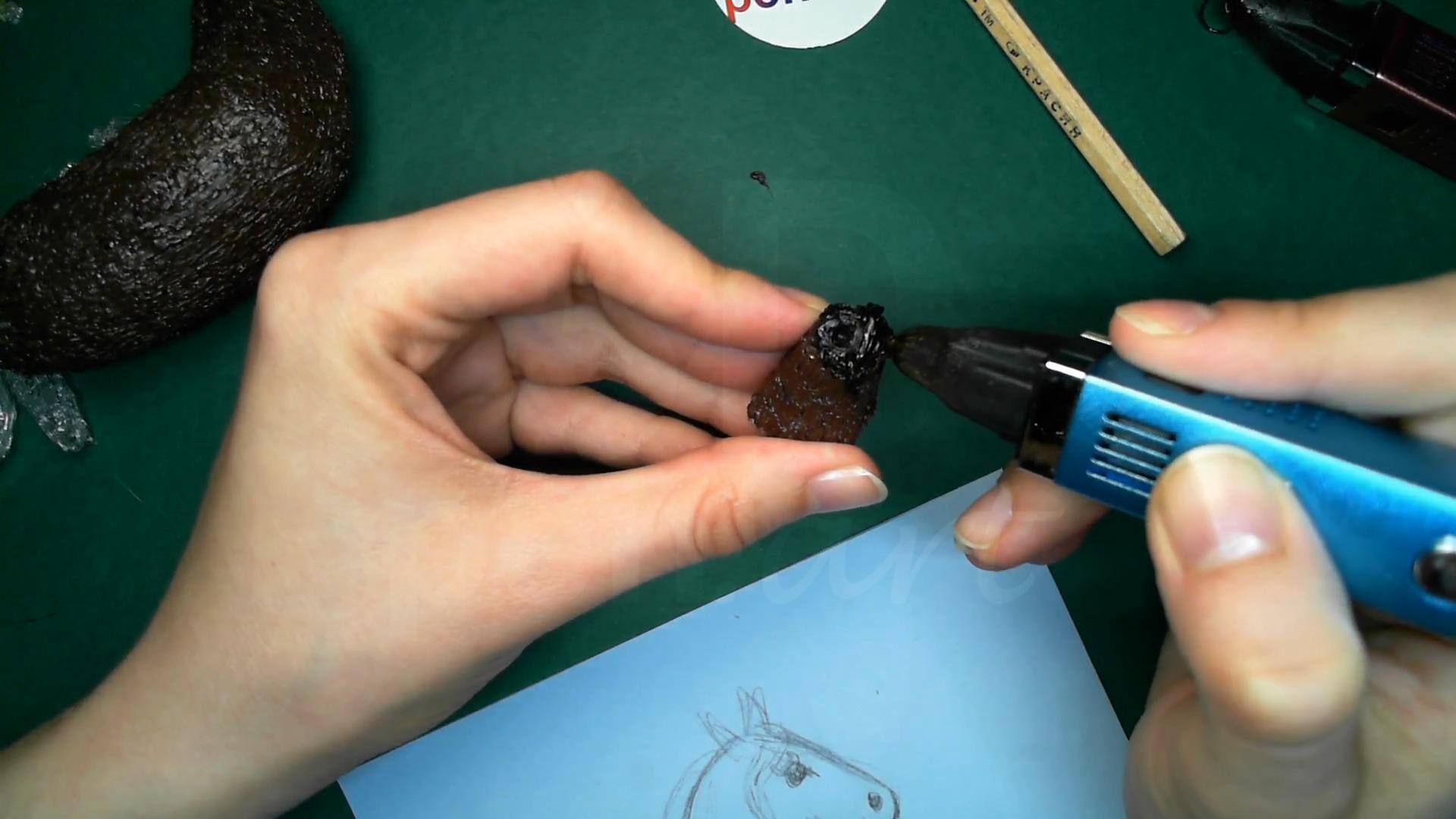 Лошадка 3D ручкой. Чистовая штриховка головы