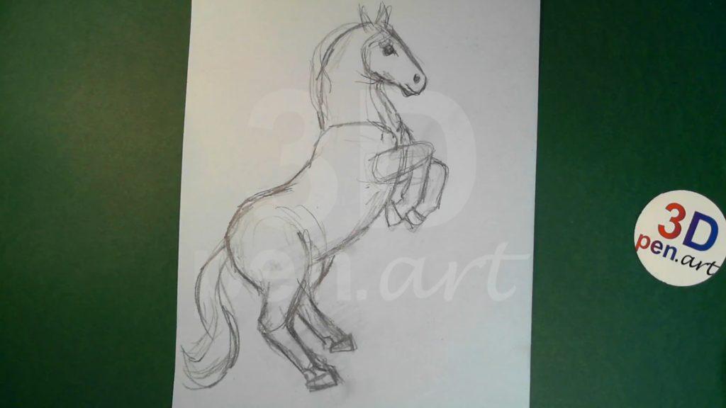 Лошадка 3D ручкой. Эскиз поделки