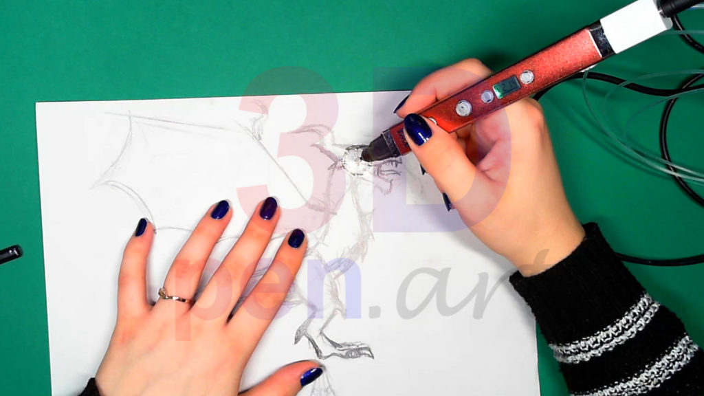 Дракон 3D ручкой. Основа каркаса головы