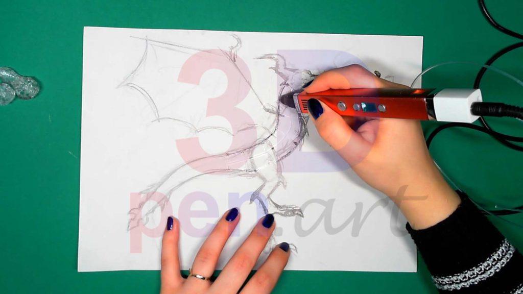 Дракон 3D ручкой. Основа каркаса тела