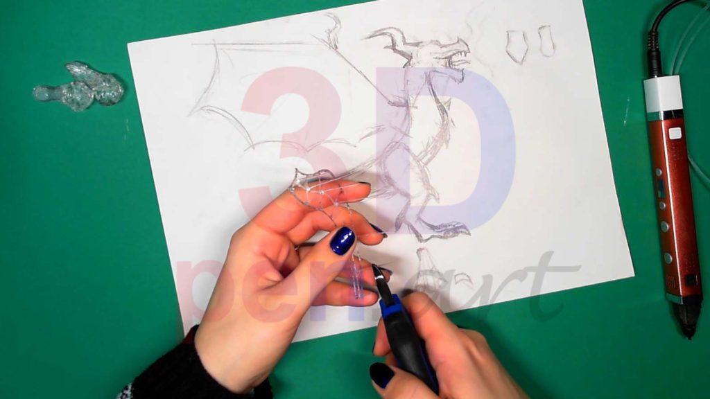 Дракон 3D ручкой. Каркас тела. Шаг 1