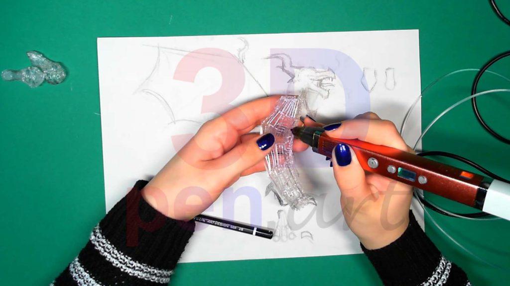 Дракон 3D ручкой Каркас тела. Шаг 5
