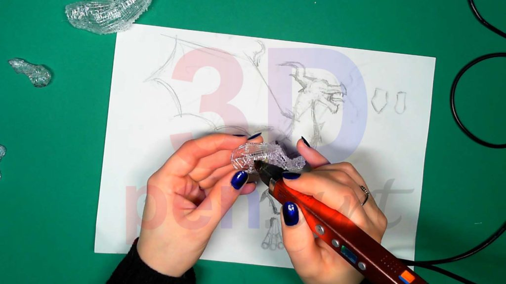 Дракон 3D ручкой. Каркас лап. Шаг 3