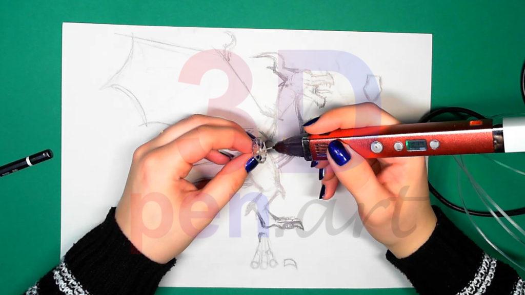Дракон 3D ручкой. Каркас головы. Шаг 1