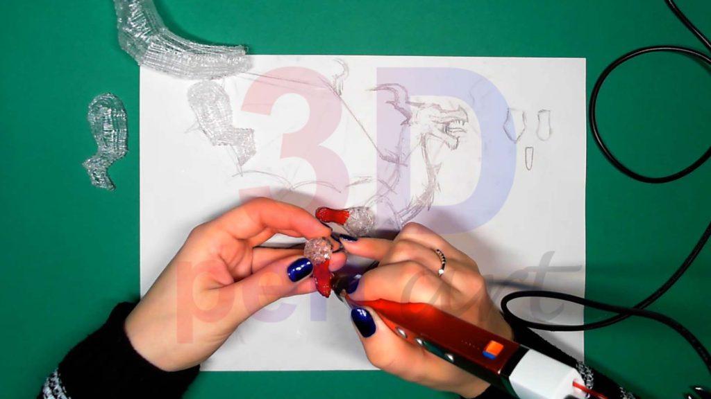 Дракон 3D ручкой. Детализация пасти