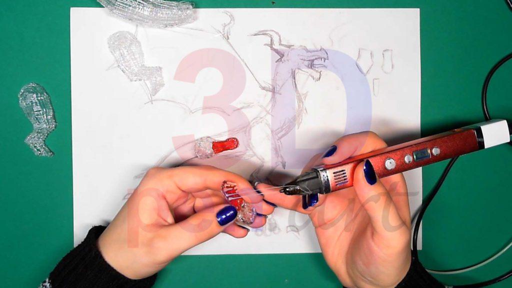 Дракон 3D ручкой. Зубы