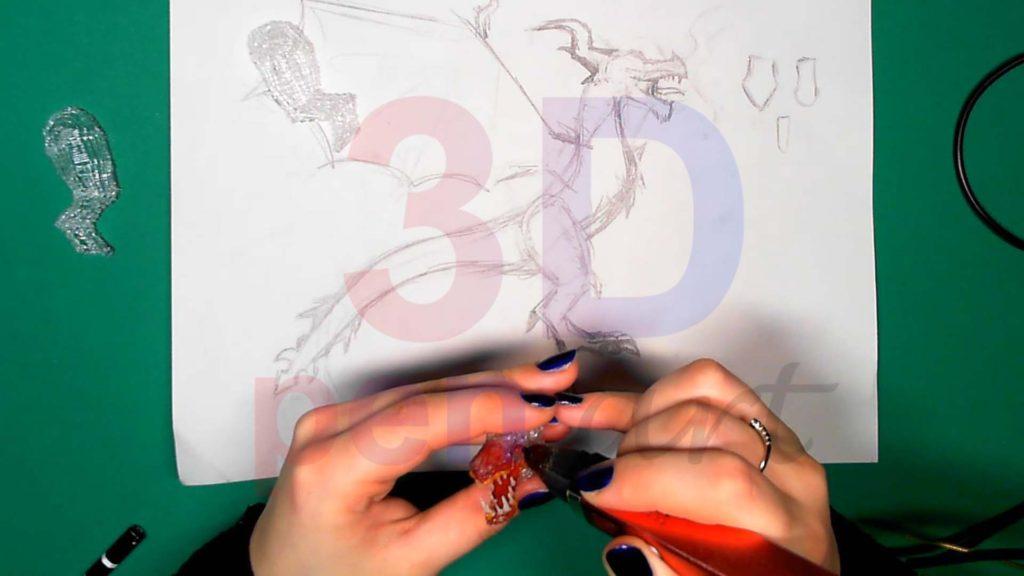 Дракон 3D ручкой. Соединяем детали головы