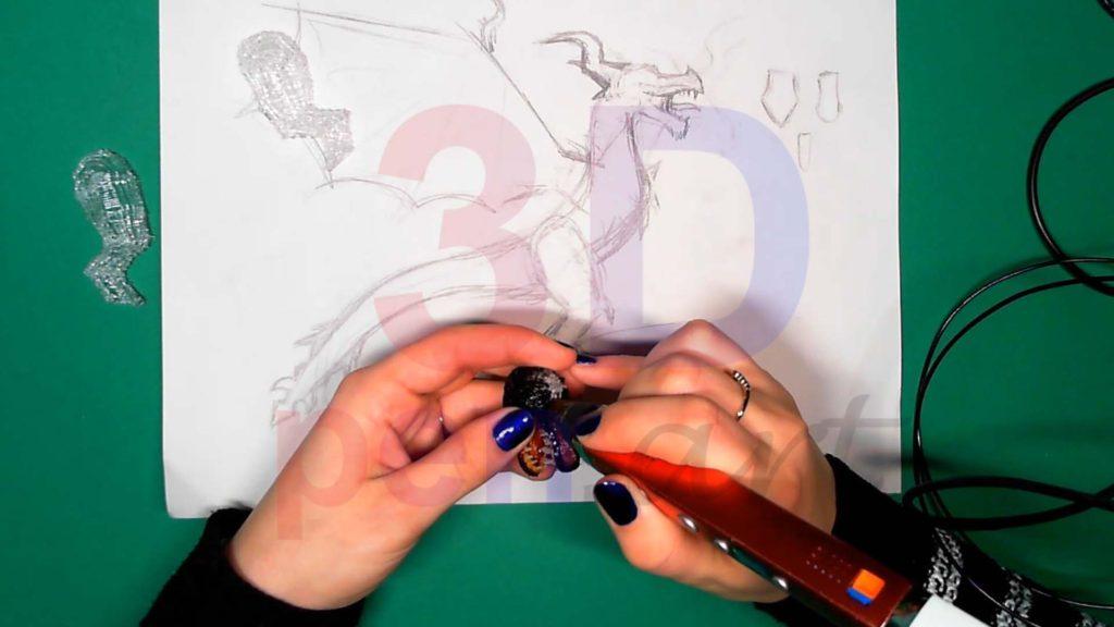 Дракон 3D ручкой. Штриховка головы