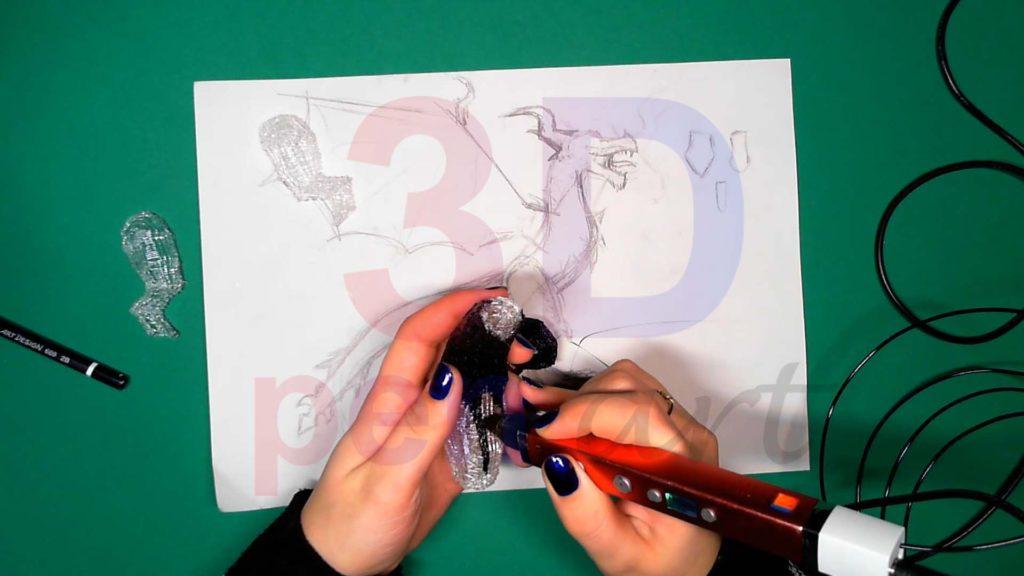 Дракон 3D ручкой. Штриховка тела