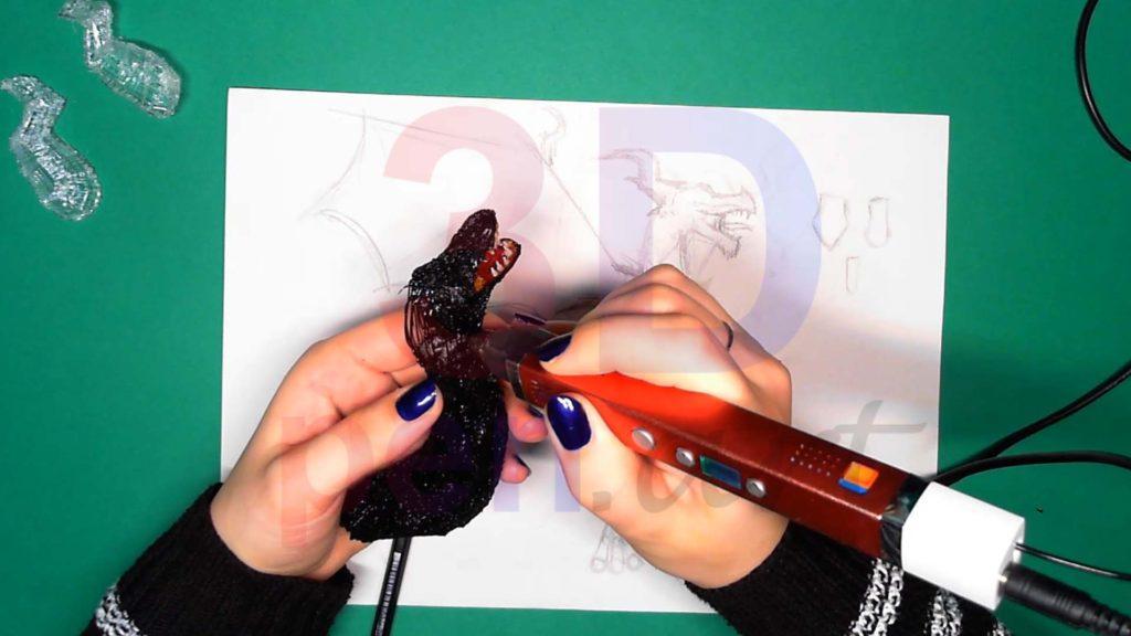 Дракон 3D ручкой. Соединяем каркасы головы и тела