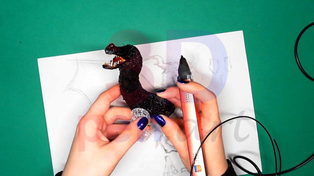 Дракон 3D ручкой. Присоединяем каркасы лап