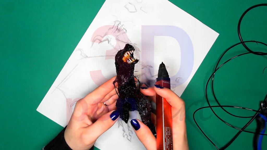 Дракон 3D ручкой. Увеличиваем каркас тела