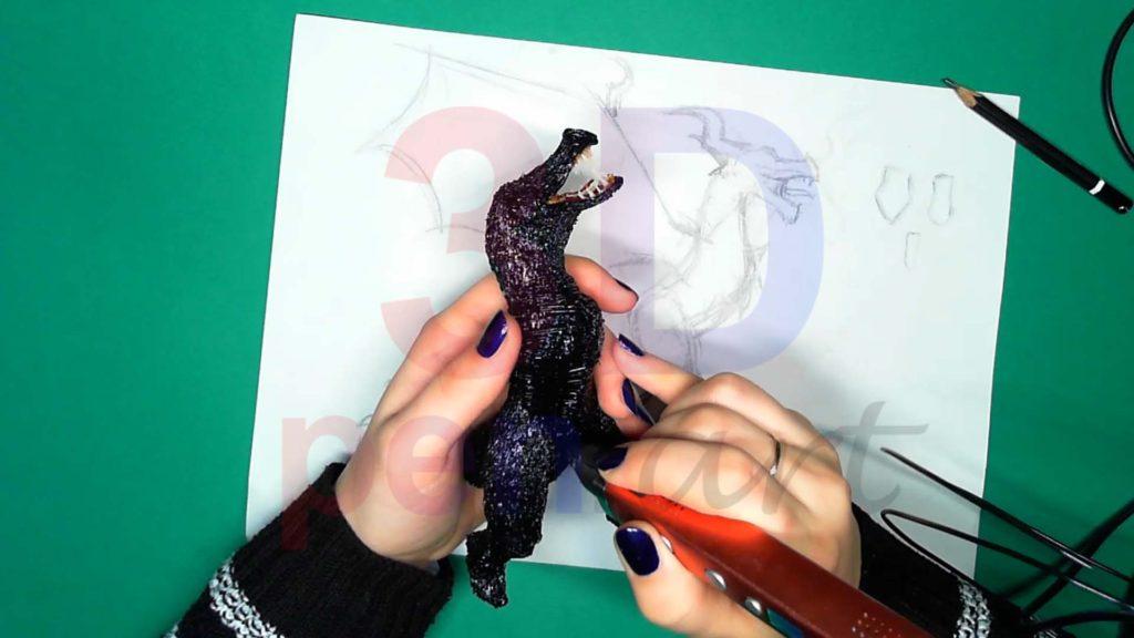 Дракон 3D ручкой. Штриховка каркаса