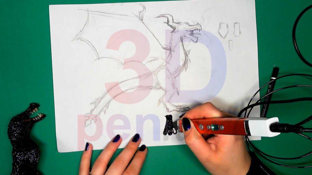 Дракон 3D ручкой. Штриховка стоп