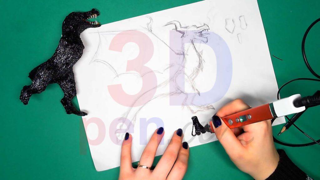 Дракон 3D ручкой. Присоединяем первую стопу и делаем вторую