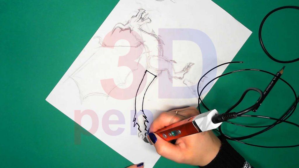Дракон 3D ручкой. Штриховка хвоста