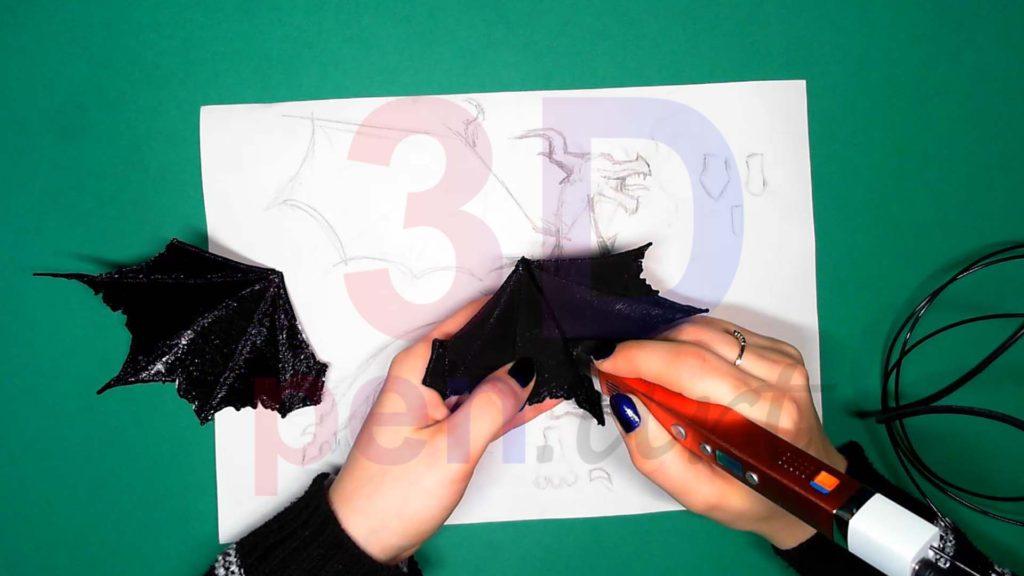 Дракон 3D ручкой. Сгибаем крылья