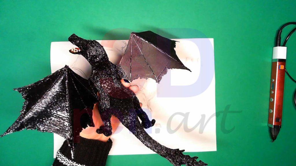 Дракон 3D ручкой. Присоединяем крылья