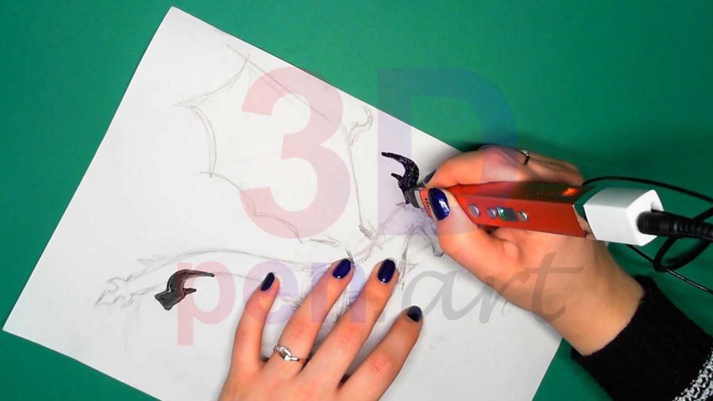 Дракон 3D ручкой. Штриховка рогов