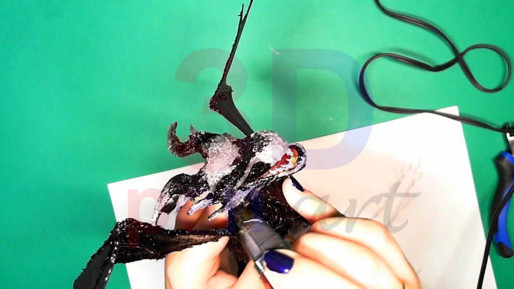 Дракон 3D ручкой. Детализация головы серым цветом