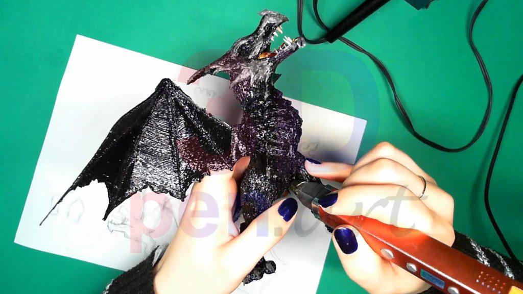 Дракон 3D ручкой. Текстура кожи