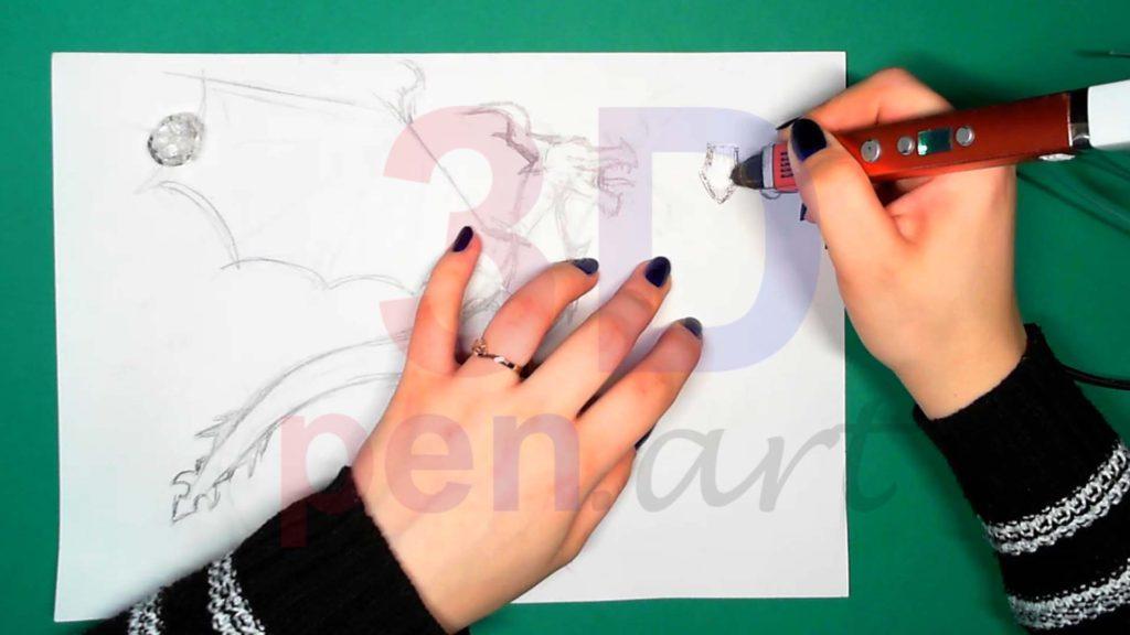 Дракон 3D ручкой. Штриховка деталей пасти