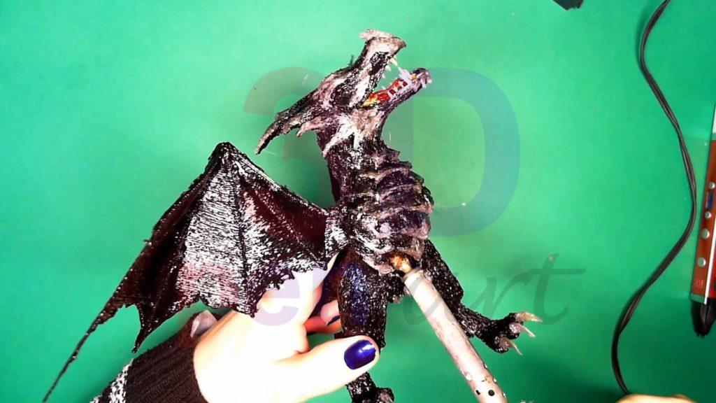 Дракон 3D ручкой. Обработка тела паяльником