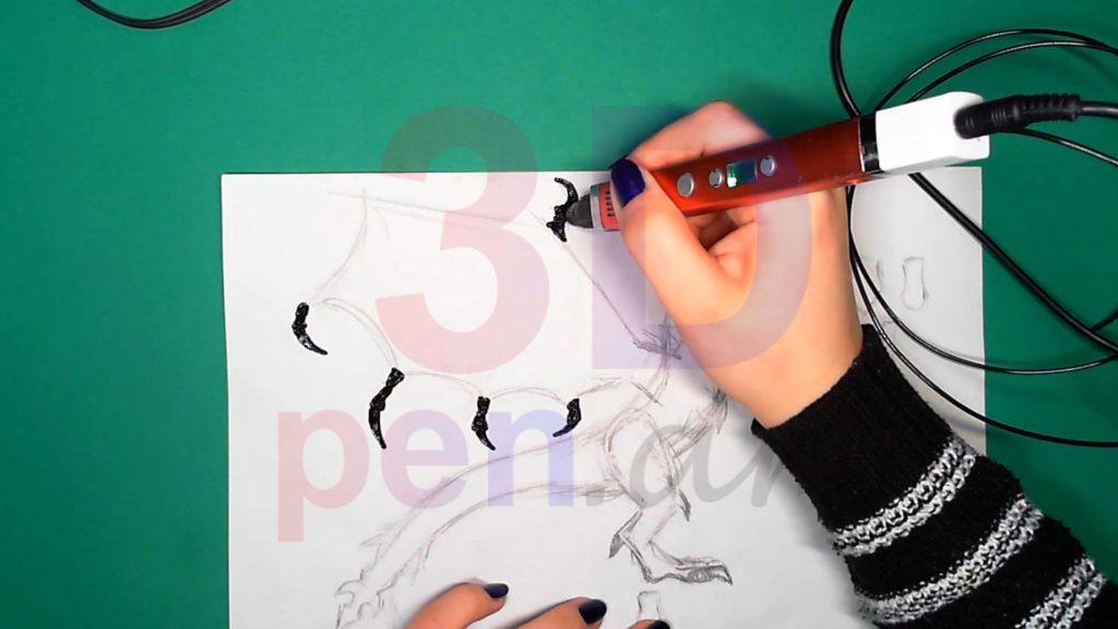 Дракон 3D ручкой. Когти для крыльев