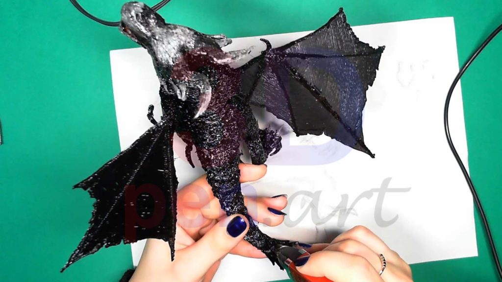 Дракон 3D ручкой. Текстуры на спине и хвосте