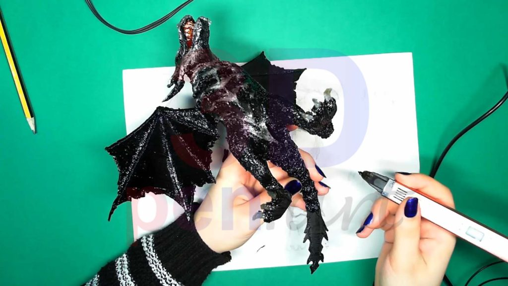 Дракон 3D ручкой. Текстуры на хвосте